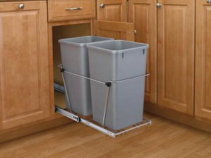 Double Slide Out Trash Black or Silver | 35qt
