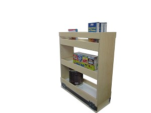 Pull out rack with middle adjustable shelf