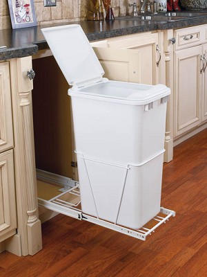 50 qt pull out trash white